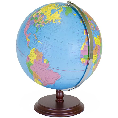World Globe | 12 Inch Desktop Atlas with Antique Stand | Earth with Political Maps + Blue Oceans for Educational Geography | Classic Globo Vintage Spinning Perfect for Geographical National Kids Toys 0