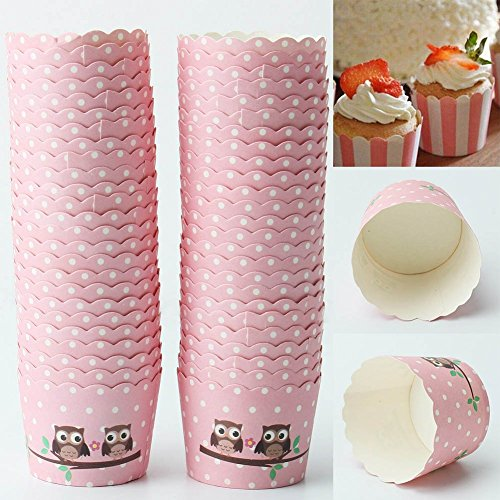 50Pcs Baking Cups Pattern Pink Polka Dot Owl for Cupcake and Muffin (Mini Muffin Bakery Boxes compare prices)