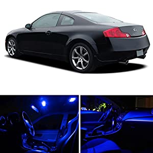 ledpartsnow infiniti g35 coupe 2003 2006 blue premium led interior lights package. Black Bedroom Furniture Sets. Home Design Ideas