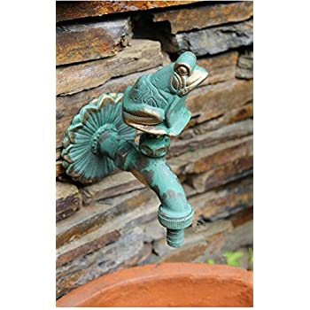 "Aquafaucet Frog Decorative Solid Brass Garden Outdoor Faucet - With a Set of Brass Quick Connecter for 1/2"" Inches Hose"