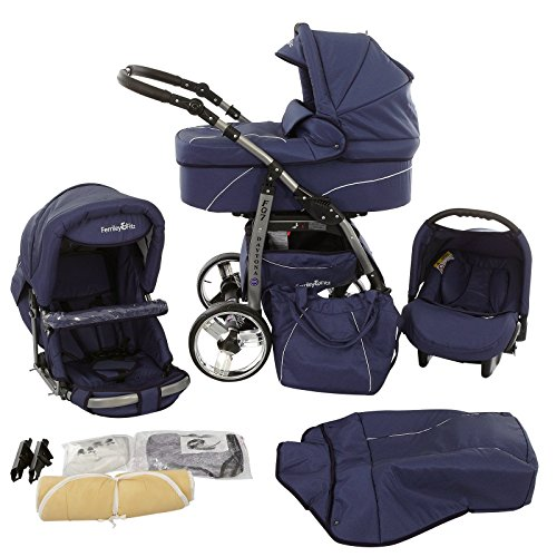 Ferriley & Fitz Daytona 3 in 1 pram system pushchair with car seat (rain cover, mosquito net, cup holder, car...