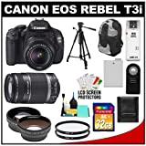 Canon EOS Rebel T3i Digital SLR Camera Body & EF-S 18-55mm IS II Lens with 55-250mm IS Lens + 32GB Card + .45x Wide Angle & 2x Telephoto Lenses + Tripod + Case + Battery + Remote + (2) Filters + Accessory Kit