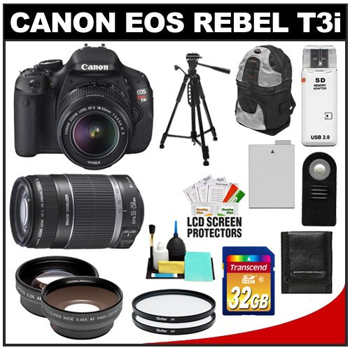 Canon EOS Rebel T3i Digital SLR Camera Body & EF-S 18-55mm IS II Lens with 55-250mm Lens + 32GB Card + .45x Wide Angle & 2x Telephoto Lenses + Tripod + Case + Battery + Remote + (2) Filters + Accessory Kit