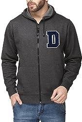 Scott Mens Premium Cotton Flocking Letter Pullover Hoodie Sweatshirt WITH Zip - Charcoal - DESSHZ1_XXXL