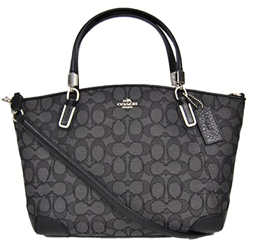 Coach Outlined Signature Small Kelsey in Black & Smoke