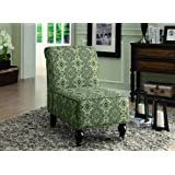 Monarch Tapestry Fabric Traditional Accent Chair, Turquoise/Blue