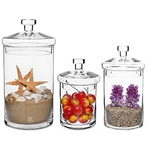 Set Of 3 Clear Glass Kitchen Bath Storage Canisters Decorative Centerpiece
