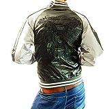 (フリースタイル)Freestyle 龍×雲 和柄 ブラック 刺繍 メンズ サテン スカジャン 3013-44 チャコール×シルバー L