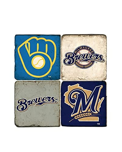 Studio Vertu Set of 4 Brewers Logoed Tumbled Marble Coasters with Stand