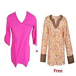 Geroo women pink cotton top with white top free.