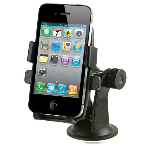 iOttie One-Touch Windshield Dashboard Car Mount Holder for iPhone 4S 4 3GS Samsung Galaxy S3 S2 Epic Touch 4G HTC OneX EVO 4G Rhyme DROID RAZR BIONIC INCREDIBLE 2 CHARGE Google Nexus BlackBerry Torch LG Revolution GPS Compact Size 360 degree Rotatable