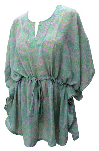 La Leela Soft Teri Voile Material Beach Caftan Cover up Pink