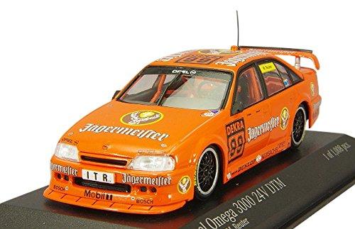 minichamps-143-scale-1991-opel-omega-a-3000-24v-jagergermeister-mreuter-dtm-car-orange