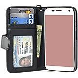 Navor Folio Wallet Case for Motorola Moto G [1st Gen] 4 Card Slots, Money Pocket ( Black )