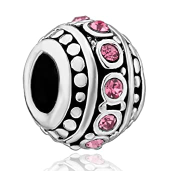 Pugster Light Pink Stripe Swarovski Crystal Charm Bead Fit Pandora Charm Bead Bracelet