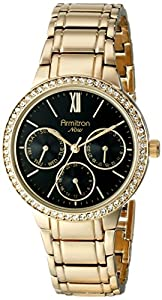 Armitron Women's 75/5235BKGP Swarovski Crystal Accented Multi-Function Gold-Tone Bracelet Watch