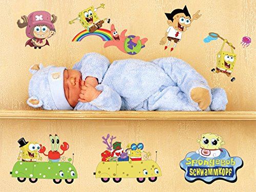 Gefii Removable Spongebob Schwammkopf Wall Sticker Nursery Children Favorite for Bedroom Home Decoration