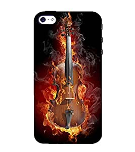 printtech Flaming Violin Back Case Cover for Apple iPhone 4