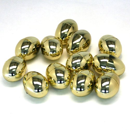 Dozen Plastic Metallic Golden Eggs by FE - 1