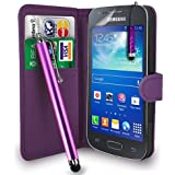 Samsung Galaxy Ace 3 S7272 /S7575 /S7270- Premium Leather Wallet Flip Case Cover Pouch + Long Touch Stylus Pen + Mini Touch Stylus Pen + Screen Protector & Polishing Cloth (AA Wallet DarkPurple)