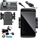 In Car Charger & Air Vent Mount Holder Cradle Kit With 360° Degree Rotation Feature For All New Models Including LG GD880 Mini, GM360, Optimus 2X, Optimus 3D P920, Optimus GT540, Optimus L3, Optimus One P500, P520, P530, Prada And Motorola Defy, Atrix, R