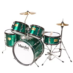 Mendini MJDS-5-GN Complete 16-Inch 5-Piece Green Junior Drum Set with Cymbals, Drumsticks and Adjustable Throne