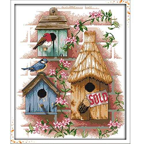 Stamped Cross Stitch Kits - Counted Cross Stitch Kit, Cross-Stitching Patterns Log Cabin 11CT Pre-Printed Fabric - DIY Art Crafts & Sewing Needlepoints Kit for Home Decor 17''x21'' (Color: Log cabin)