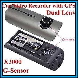 """X3000 2,7 """"140 ° DUAL LENS TABLEAU DE BORD CAMERA DVR VOITURE BLACK BOX VIDEO ENREGISTREUR + GPS LOGGER"""