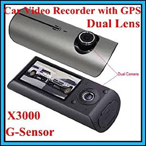 "X3000 2,7 ""140 ° DUAL LENS TABLEAU DE BORD CAMERA DVR VOITURE BLACK BOX VIDEO ENREGISTREUR + GPS LOGGER"