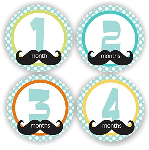 Baby Boy Monthly Stickers - Baby Shower Gift - Mustache Baby Month Stickers - Includes 1-12 Months Stickers
