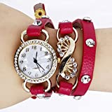 Lady Girls Fashion Rhinestone Wrap Leather Bracelet Quartz Wrist Watch