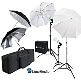 LimoStudio White & Black Umbrella Reflector Photography Video Studio Continuous Lighting Kit, Photo Bulb & Socket with Umbrella Insert Hole, Light Stand Tripod, Carry Bag, Photo Studio, AGG2103