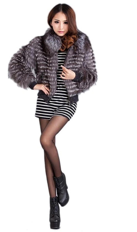 YR Lover Damen Winter Warm Echter silber Fuchs Pelz Mantel Jacke bestellen