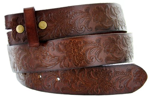 Western Floral Engraved Tooling Solid One-Piece Leather Dark Brown Belt Strap (34, Dark Brown)