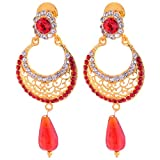 Smart Deal Jewellers gold-plated Dangle & Drop Earrings for Women (Red)