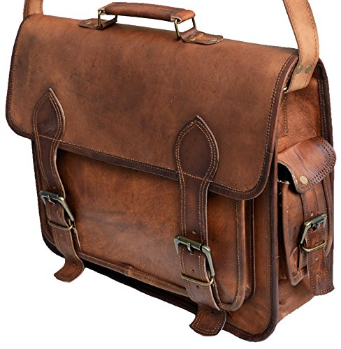 "Cheap 16"" Inch Men's Genuine Leather Messenger College Macbook Air Pro Laptop Ipad Tablet Brief..."