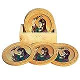 Handicraft Paradise Real Gemstone Pine Wood Shringar Design Round Coaster