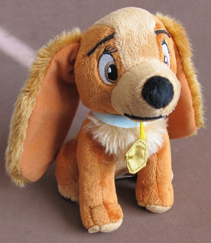 "Disney PLUSH Beanie LADY Dog w Collar 7"" Tall x 8"" Long LADY & The TRAMP (2012)"