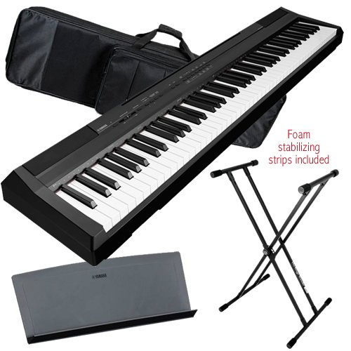 Yamaha P-105 Digital Piano (Black) Performer Pak W/ Keyboard Bag