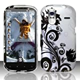 HTC Amaze 4g T-Mobile Accessory - Silver/black Flower & Vines Design Case Protective Cover