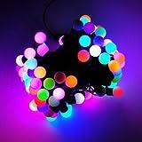 KooPower 100 LED 10M Superbe Guirlande Lumineuse avec des ampoules(Diamètre: 1,5cm) Multicolore Lampe Eclairage de décoration Pour Noël Fête Marriage Jardin Deco...