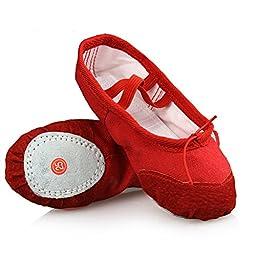 LONSOEN Ballet Slipper Shoes Split-Sole Dance Flat for Girls (Toddler/Little Kid/Big Kid), Red, 11 M US Little Kid