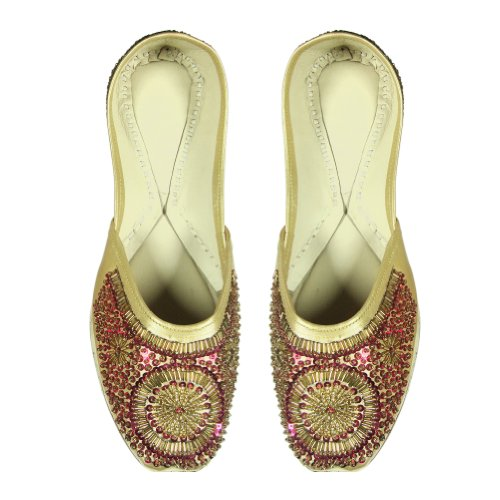Cheap Antique Look Sequins & Bead Work Indian Women Rexin Shoe with Leather Sole – US Size: 12 (B008QBGZBI)
