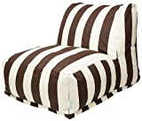 Majestic Home Goods Chocolate Vertical Strip Bean Bag Chair Lounger