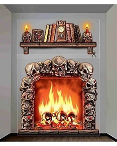 Lunarland SKULL FIREPLACE WITCH HOUSE Halloween Party Decoration Backdrop Scene Setter NEW (Fireplace Border compare prices)