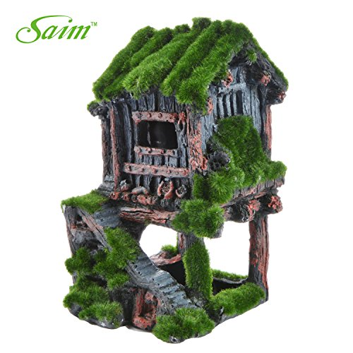 Saim Resin Ancient House with Moss Aquarium Decorations Fish Tank Landscape Ornament