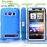 HTC EVOケース スクリーン プロテクター付属3重構造 (au WiMAX ISW11HT Screen Protector Case ) 【白×青】