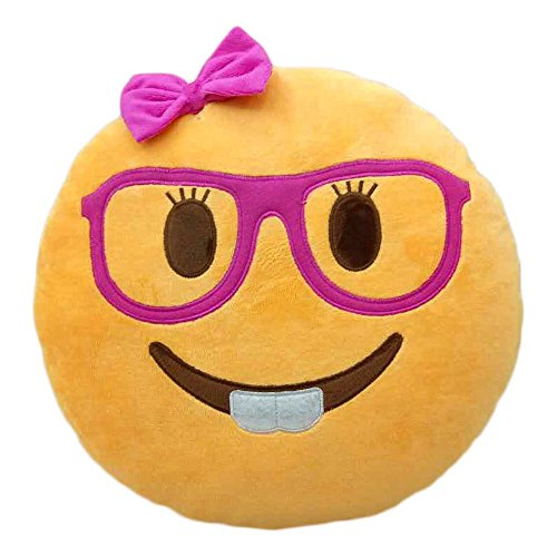 Cheapest Prices! Lady Nerd Face Emoji Pillow Emoticon Cushion Plush Toy