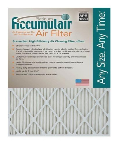"Accumulair Platinum MERV 11 Air Filter/Furnace Filters , 23"" L x 25"" W (Actual Size), 6 Piece"