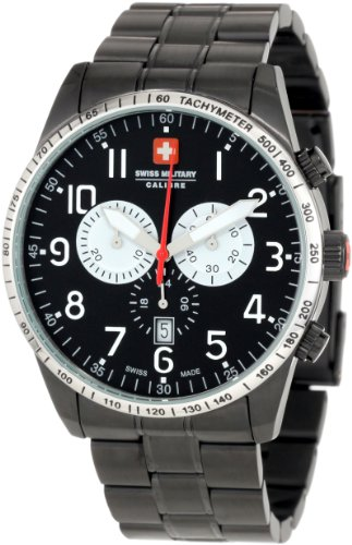 Swiss Military Calibre Mens 06-5R4-013-007.1 Red Star Black Dial Chronograph Steel Date Watch<br />